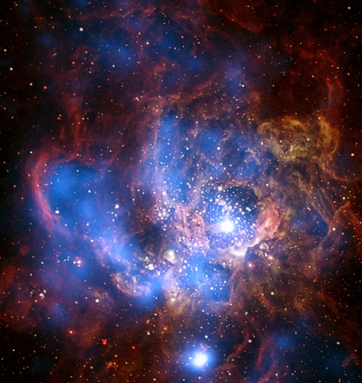 This composite image from Chandra X-ray data (colored blue) and optical light data from the Hubble (red, green and yellow) shows a divided neighborhood where some 200 hot, young, massive stars reside. Bubbles in the cooler gas and dust have been generated by powerful stellar winds, which are then filled with hot, X-ray emitting gas. Scientists find the amount of hot gas detected in the bubbles on the right side corresponds to the amount entirely powered by winds from the 200 hot massive stars. The situation is different on the left side where the amount of X-ray gas cannot explain the brightness of the X-ray emission. The bubbles on this left side appear to be much older and were likely created and powered by young stars and supernovas in the past.